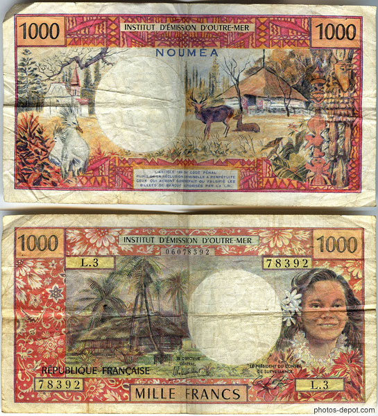 Billet 1000 francs Noumea photo