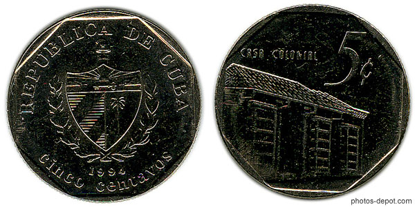 Pièce Cuba 5 centavos 1994 casa colomal photo